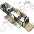 Housing architecture plans with 3D building structure — Stock Photo #9733506