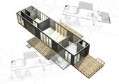 Housing architecture plans with 3D building structure — Stock Photo