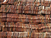 Red Clay Tiles of Thai Roof — Stockfoto