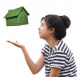 Stock Photo: Woman holding eco house,sustainable concept
