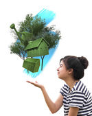 Woman holding eco things, sustainable concept — Stock Photo