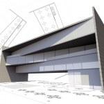 3d illustration of modern building construction concept — Stock Photo #9885010