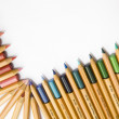 Oblique colored corner with pencils — Stock Photo