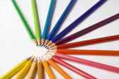 Gekleurde halve ster met potloden — Stockfoto