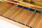 Box with colored pencils — Stock Photo