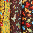Three bright samples of cotton fabric — Stock Photo