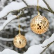 Golden sparkles cristmas balls - Stock Photo