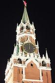 Spasskaya Tower in the dark night at twelve o'clock — Stock Photo