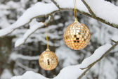 Golden sparkles cristmas balls — Stock Photo