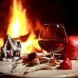 Royalty-Free Stock Photo: Fireplace cognac