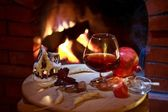 Fireplace cognac — Stock Photo