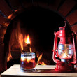 Lantern fireplace — Stock Photo