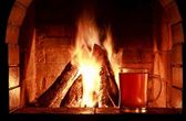 Fireplace beer — Stock Photo