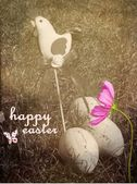 Vintage Easter eggs, chicken and wishes — Stock Photo