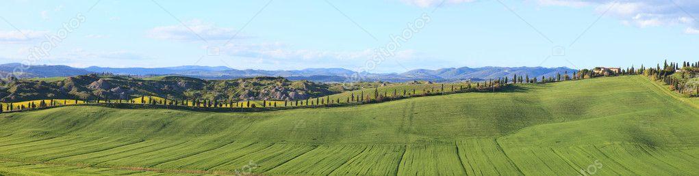 Stock Photo Tuscany Panorama Landscape Farm Green