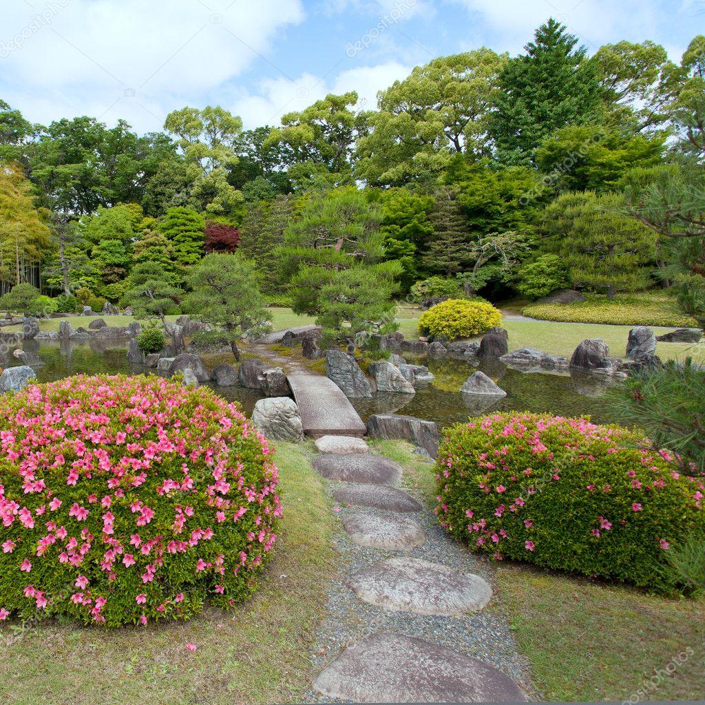 Zen garden with bridge plants rocks and pond stock for Zen garden bridge