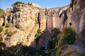 New bridge and falls in Ronda white village. Andalusia, Spain. — Stock Photo