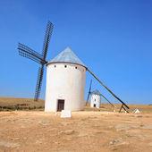 Two windmills. Castile La Mancha, Spain. — Stock Photo