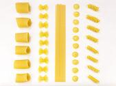 Italian pasta. Paccheri, farfalle, spaghetti, orecchiette, fusil — Stock Photo