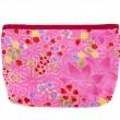 Pink and red flower pocket bag with leaves and hearts — Stock Photo