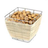 Mandel och valnötter i en matkorg isolerad på vit — Stockfoto