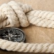 Stock Photo: Marine rope and compass