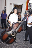 Hungarian folk group. men with double bass — Stock Photo
