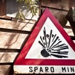 Danger mines sign - Stock Photo