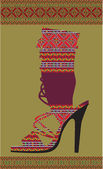 Ethnic Woman Shoe, Vector illustration — Stok Vektör