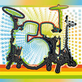Illustration of a drum set. Vector illustration — Stockvector