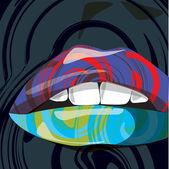 Beautiful woman lips illustration — Stock Vector