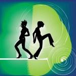 Dancing girls, vector illustration — Stock Vector