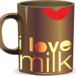 I love milk. Vector illustration — Stock Vector