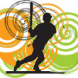 Stock Vector: Baseball player in action. Vector illustration
