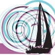 Royalty-Free Stock Vector Image: Sailing luxury yacht. Vector illustration
