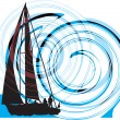 Sailing luxury yacht. Vector illustration — Stock Vector