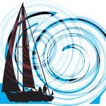 Sailing luxury yacht. Vector illustration — Stock Vector