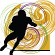 Royalty-Free Stock Vector Image: American football player in action. Vector illustration