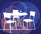 Table & chairs illustration — Vettoriale Stock