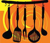Cremagliera di utensili da cucina — Vettoriale Stock