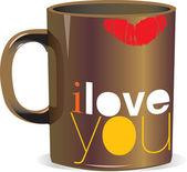 I love you mug — Stock Vector