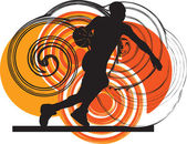 Basketball player in action. Vector illustration — Cтоковый вектор