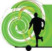 Fotbollsspelare i aktion. vektor illustration — Stockvektor
