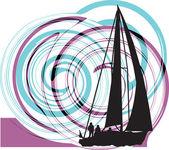 Sailing luxury yacht. Vector illustration — Vector de stock