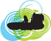 Airboat. illustrazione vettoriale — Vettoriale Stock
