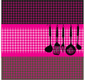 Rack of kitchen utensils — Vector de stock