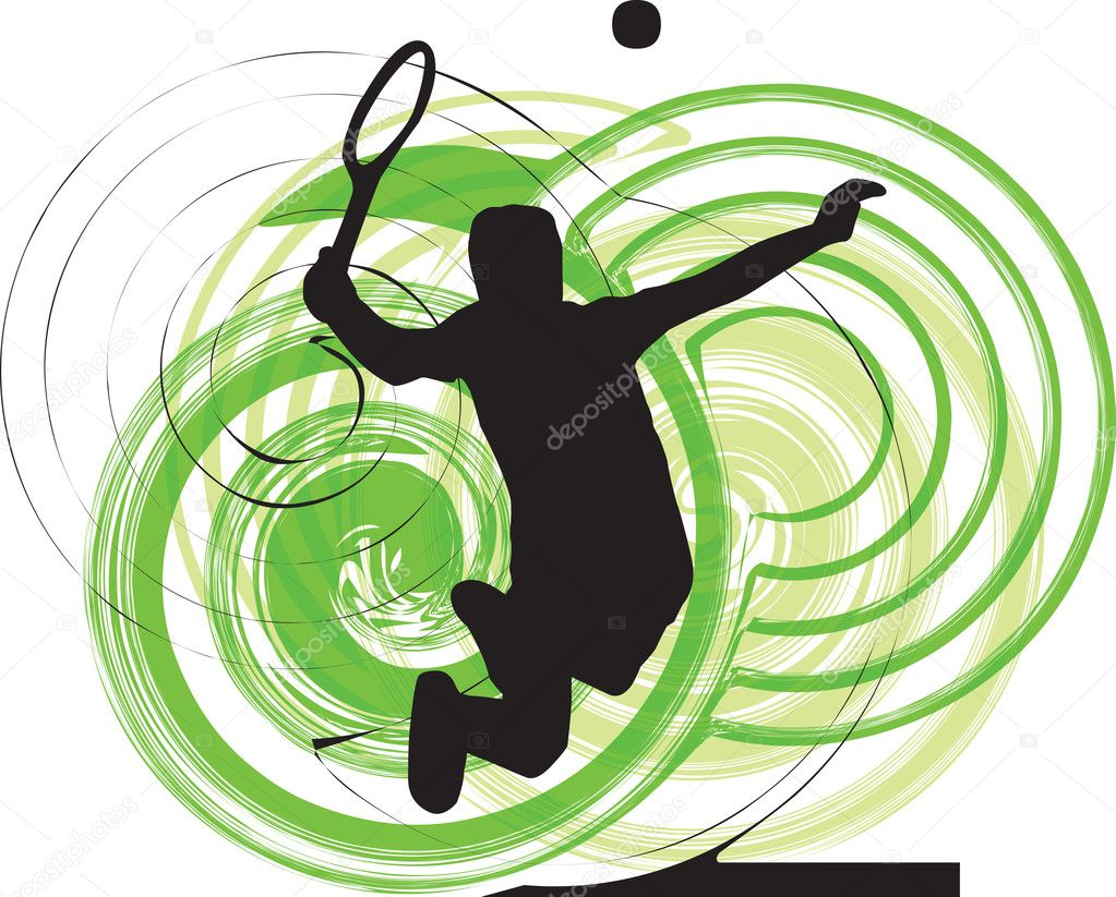 Tennis player. Vector illustration made in adobe illustrator  Stock Vector #8944953