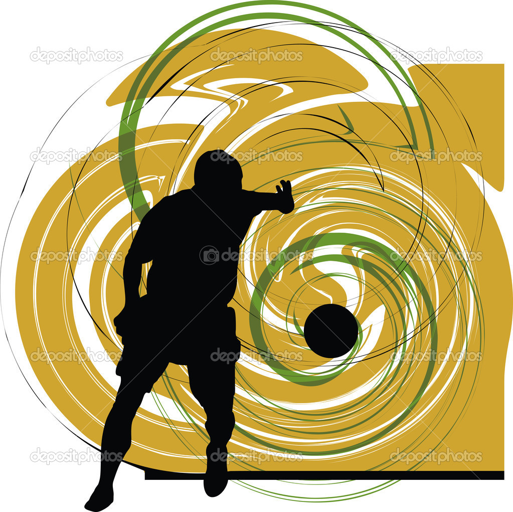 Football player in action. Vector illustration made in adobe illustrator — Stock Vector #8945110