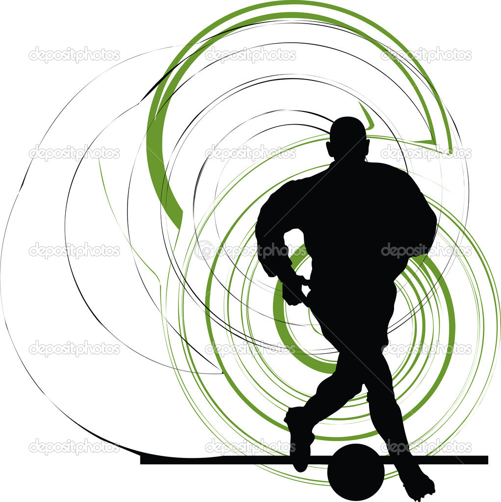 Football player in action. Vector illustration made in adobe illustrator  Stock Vector #8945116