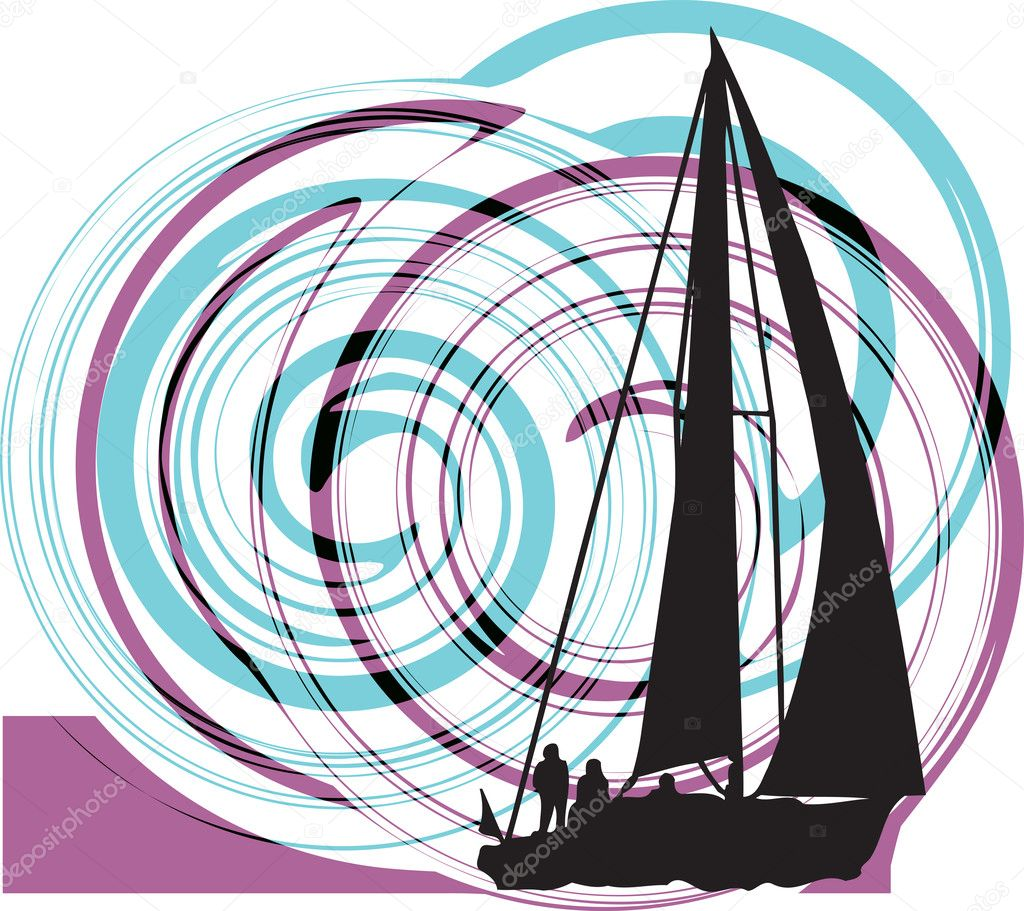 Sailing luxury yacht. Vector illustration made in adobe illustrator — Stock Vector #8945195